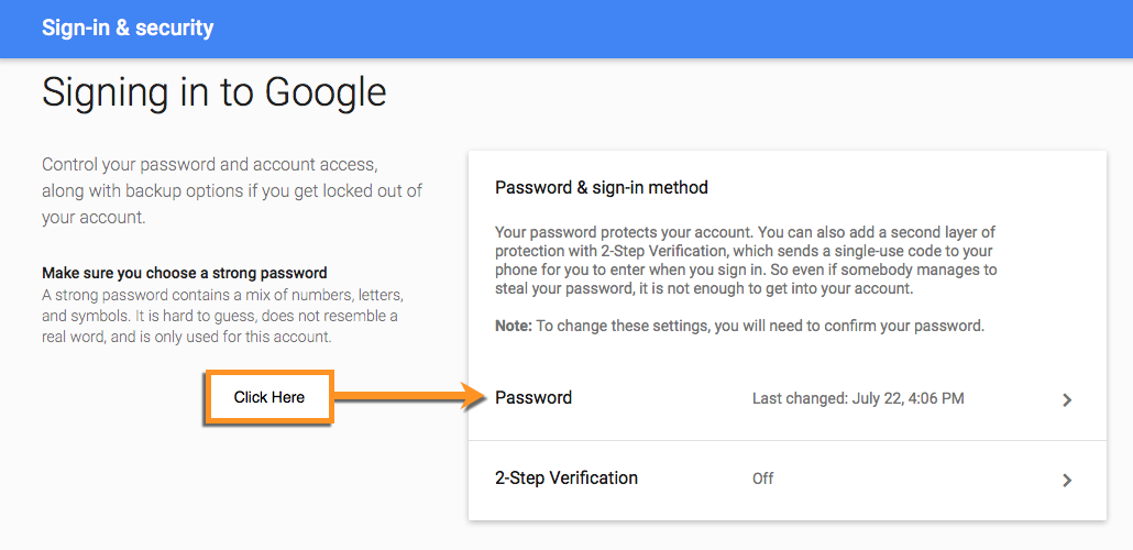 how to get your google account password
